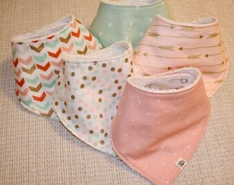 Pink, Mint, and Gold Baby Bandana Bibs with Adjustable Snaps (Set of 3)