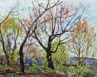 VINTAGE SPRING LANDSCAPE, Original Oil Painting by a Soviet Ukrainain artist M.Borymchuk, 1970s, Impressionist art, Woodland scenery, Nature