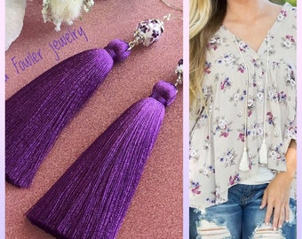 Handmade purple tassel earrings