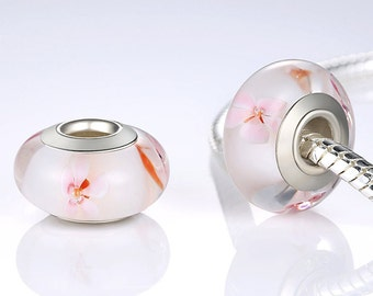 Sterling silver and murano Cherry Blossom flower charm beads perfect for pandora and troll or european bracelets