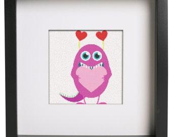 Valentine Monster Cross Stitch Pattern Valentine's Day Counted Cross Stitch Pattern by Cross Stitch Creation Shop
