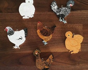 Custom Chicken Hand Painted Ornament/Magnet
