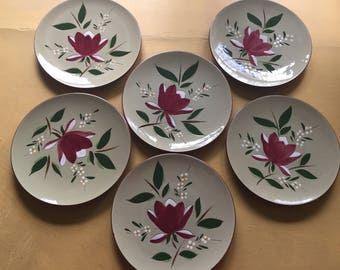 "Vintage Stangl Magnolia Pattern - Six 8"" Hand Painted Salad or Appetizer Plates - Mid Century - Trenton, NJ Factory - Flemington, NJ Outlet"