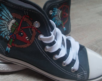 Adam And The Ants logo, hand-painted sneakers
