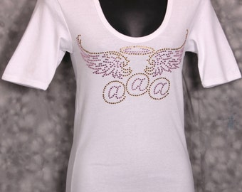 Baby Rib U-Neck T, Embellished with Pink and Gold Rhinestones