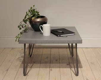 Concrete Industrial Coffee Table in Cool Grey // Clear Coat Steel Hairpin Legs // Light Weight Table Worktop
