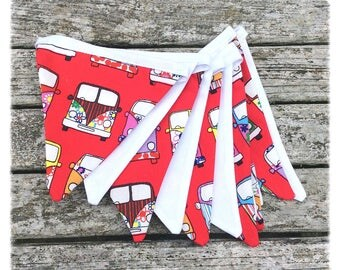 Campervan fabric bunting, VW camper bunting, red and white bunting, Campervan decoration, Campervan lover gift idea