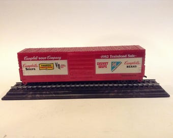 "Vintage LIFE-LIKE Campbell Soup Company, ""1982 Trainload Sale"" Promotional Boxcar Model Train Mounted on Stand"