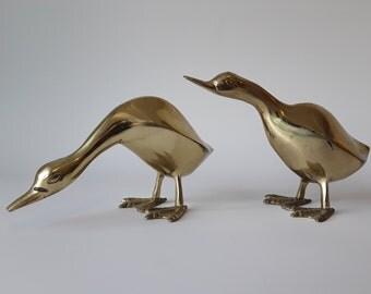 Brass Duck Figurine Pair Vintage Mid Century