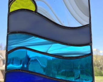 Waterscape stained glass suncatcher