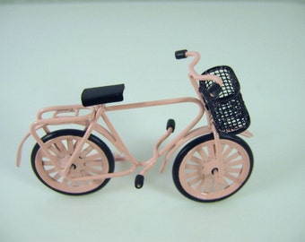 Dolls house miniature pink bike with basket
