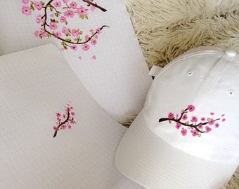 White Cap rose flower hand painted