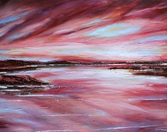 Dramatic Crimson Red Sky Impressionistic Oil Painting
