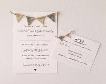 Rustic bunting wedding invitation wedding stationery
