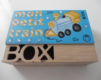 """Wooden box """"small train"""" - light turquoise"""