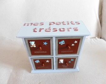 "Small wooden storage cabinet ""ourson"" - pastel blue and hazelnut"
