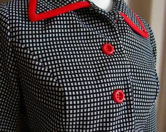 Vintage Black/White Checkered Blazer w/ Red Detail