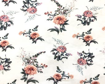 Jersey Knit Fabric, Cotton Knit Fabric, Fabric by the Yard, Stretch Fabric, Floral Fabric - White Floral