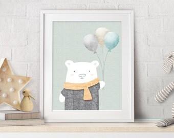 "Nursery Wall Art, Nursery Prints, Baby Shower Gift, Nursery Bear Decor, Baby Gift, Nursery Prints, White Bear, Neutral Wall Art, 8x10"", Mint"