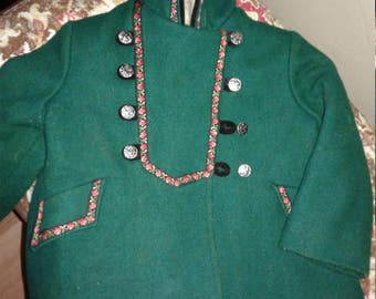 Vintage Girls Rothschild Green Wool Heidi Coat Size 4