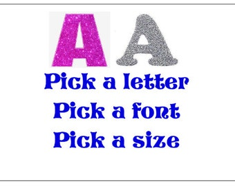big or small iron on customised glitter fabric letters or images choose a size choose a font choose a colour
