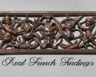 Long Vintage French Mythology God Winged Lion Owl Serpent Cherub Plaque Stamping Raw Brass 1 Piece 429J
