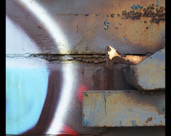 abstract photography, fine art photography, industrial art, abstract art, rust, blue, red, rustic, urban art, fine art print