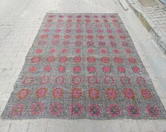 6.6x9.2 Ft Embroidered vintage handwoven Turkish kilim rug