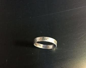 Vintage Sterling Silver Band Ring, Distressed Style 2221