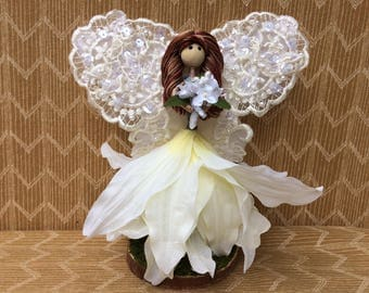 White Laced Winged Fairy Doll, Fairy Bride, Bride Doll, Flower Petal Doll, Fairy Garden Doll, Fairy Garden, Whimsical, Gift Doll.