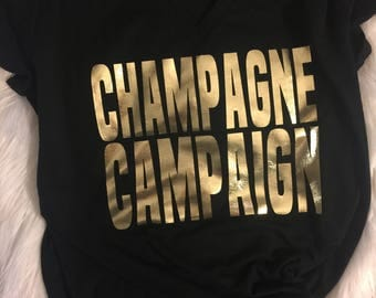 Bridal Party Champagne Campaign Tees // Champagne Campaign T-shirts // Matching Bridal Party Shirts // Black and Gold Bachelorette Party Tee