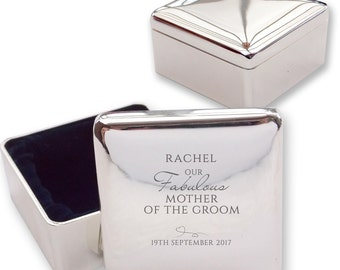Personalised engraved MOTHER of the GROOM square shaped trinket box wedding thank you gift idea  - BE7