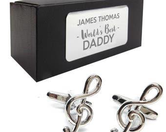 Music treble clef CUFFLINKS World's best dad, grandad, uncle, husband birthday gift, presentation box PERSONALISED ENGRAVED plate - 178