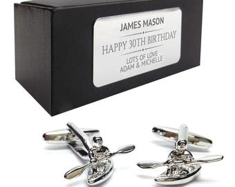 Canoe, kayak CUFFLINKS 30th, 40th, 50th, 60th, 70th birthday gift, presentation box PERSONALISED ENGRAVED plate - 010