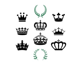 Crown SVG bundle Princess King Mardi gras Tiara Cut files for silhouette Cricut designs Vector art files PNG Cuttable SVG files