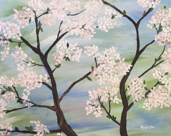 White Spring Blossoms, Original Acrylic Painting