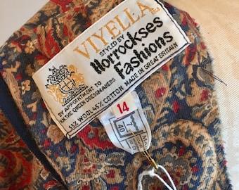Vintage Viyella Horrockses original vintage 70's paisley 3/4 length dress with matching belt size 10
