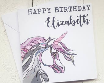 Personalised Unicorn birthday card - Handmade birthday card - personalised unicorn card - girl's birthday card - unicorn art - card