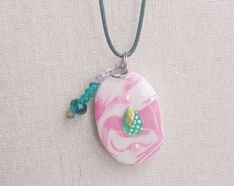 Pink oval pendant green bead pearl clay necklace minimalist clay necklace jewelry teeny tiny Gifts for her handmade polymar clay design bead