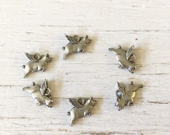 Flying Pig charms, Pig charm, silver pig, silver charm