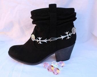 Boot Bracelet Silver Crosses
