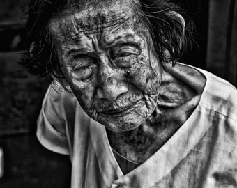 Old lady portrait, travel photography, street photography, Vietnam Woman Portrait, Vietnamese Woman, Elderly Vietnam Woman Portrait