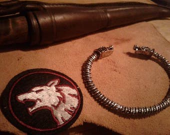 Geri and Freki  wolf bracelet and wolf patch and raven patch