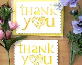 Thank you card pack, Set of 5 Thank you, Send thanks, Thanks card, Thank you note, Merci card, Send thanks, Thank you set, Papercut cards