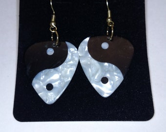 Yin Yang Guitar Pick Earrings