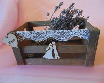 Rustic Wooden Crate Box, Wedding Box with engraved Heart, Rustic Box for Favors Programs Cards Advice,Wedding CardBox