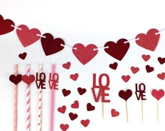 Valentine Party Set- glittery valentine's decorations  (style 1)