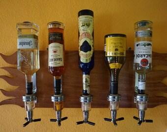 Five Bottle Mountable Alcohol Rack - Real wood