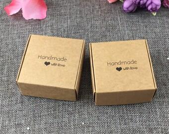 "50 Pcs ""Handmade with Love"" Kraft Boxes"