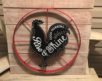 Rustic wood /chicken & antique wheel sign. 30x30